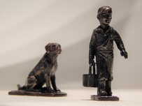 'Boy and Labrador' bronze sculpture by Aaron Brown